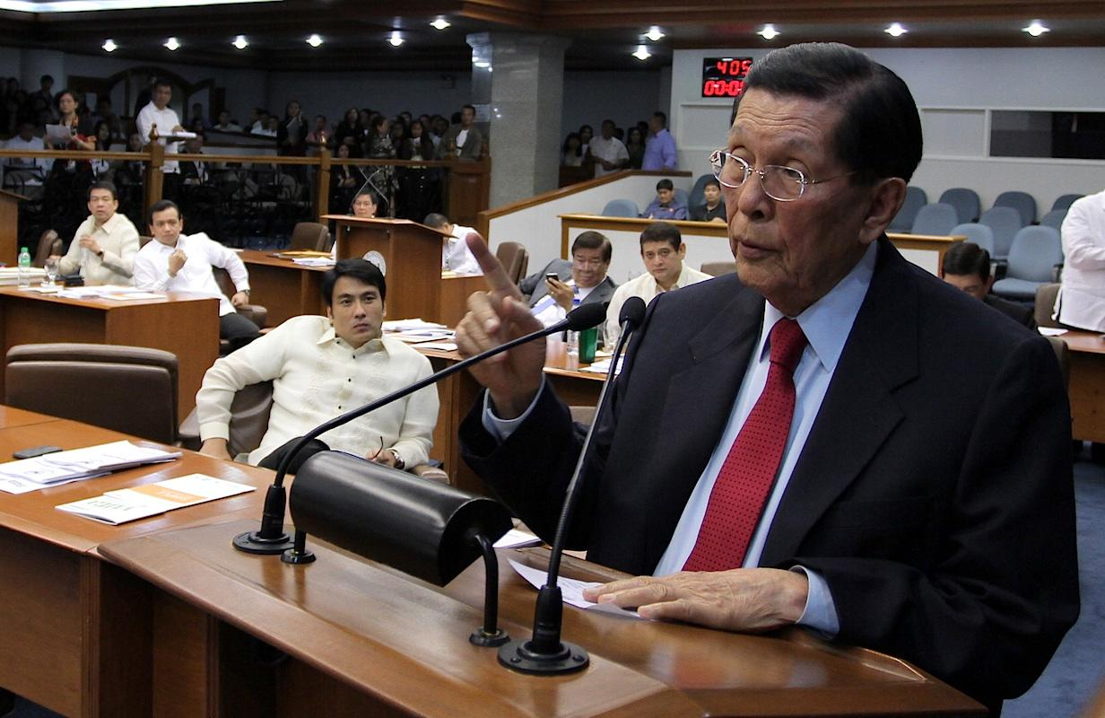 Enrile delivers his privilege speech. Seen during a session at the Senate in Pasay City, south of Manila, on 21 January 2013. (Joseph Vidal/PRIB/NPPA Images)