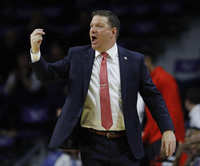 Texas Tech head coach Chris Beard talks to his players during the second half of an NCAA college basketball game against Kansas State Tuesday, Jan. 22, 2019, in Manhattan, Kan. Kansas State won 58-45. (AP Photo/Charlie Riedel)