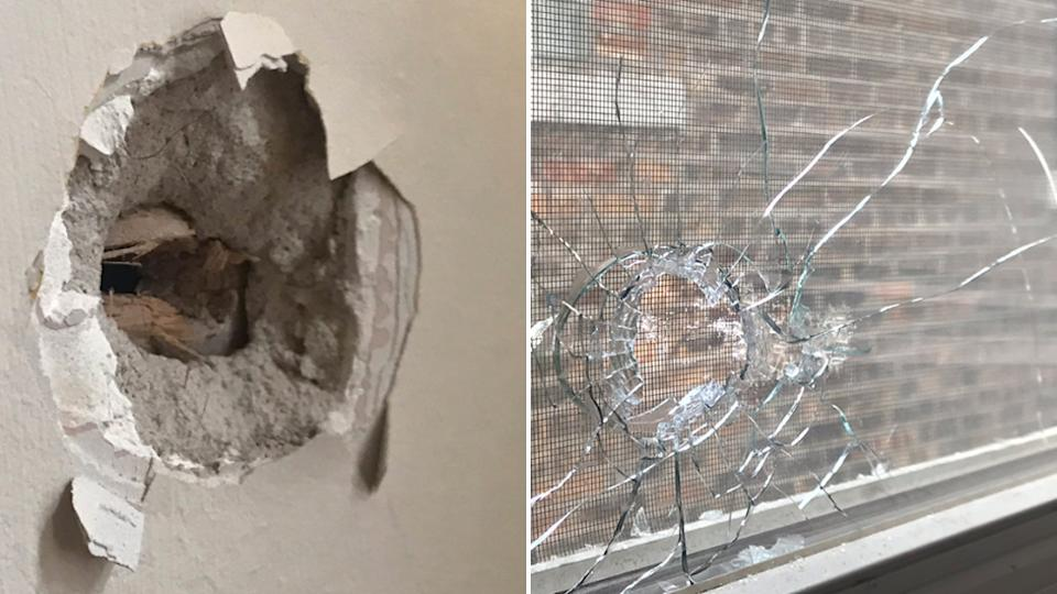 Photo shows some of the bullet holes in the family home in Chicago, where a 12 year old was shot.