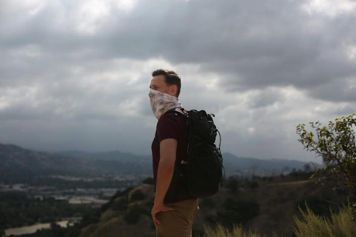 """Casey Schreiner, author of the bestselling """"Discovering Griffith Park,"""" on one of his favorite trails. <span class=""""copyright"""">(Dania Maxwell/Los Angeles Times)</span>"""