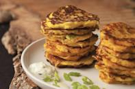 """Sweet and nutty spaghetti squash gets the bacon treatment in these snacky little pancakes. <a href=""""https://www.epicurious.com/recipes/food/views/spaghetti-squash-fritters?mbid=synd_yahoo_rss"""" rel=""""nofollow noopener"""" target=""""_blank"""" data-ylk=""""slk:See recipe."""" class=""""link rapid-noclick-resp"""">See recipe.</a>"""