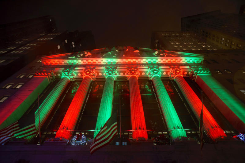 This photo shows the exterior of the New York Stock Exchange on Thursday evening, Dec. 20, 2018. Stocks went into another slide Thursday in what is shaping up as the worst December on Wall Street since the depths of the Great Depression, with prices dragged down by rising fears of a recession somewhere on the horizon. The Dow Jones Industrial Average dropped 464 points, bringing its losses to more than 1,700 since last Friday. (AP Photo/Patrick Sison)