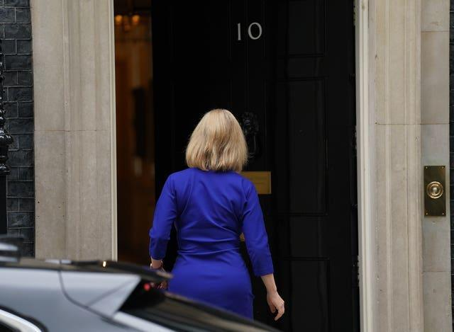 Liz Truss pictured entering 10 Downing Street amid a Cabinet reshuffle