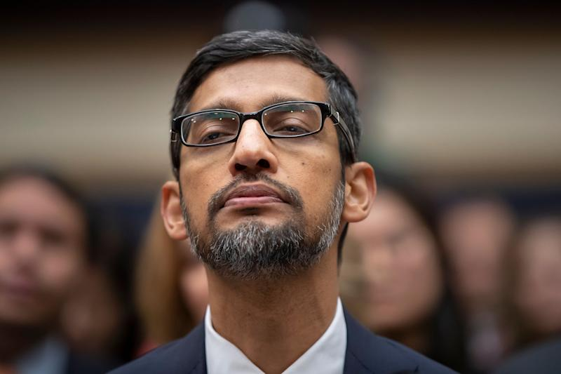 FILE - In this Dec. 11, 2018, file photo, Google CEO Sundar Pichai appears before the House Judiciary Committee to be questioned about the internet giant's privacy security and data collection, on Capitol Hill in Washington. Google attracted concern about its continuous surveillance of users and other concerns bubbled up this month as lawmakers grilled Pichai. (AP Photo/J. Scott Applewhite, File)