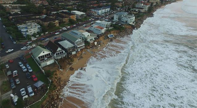 Media and bystanders gather in a lookout point to observe the carnage left by the wild storm. Photo: UNSW Water Research Laboratory