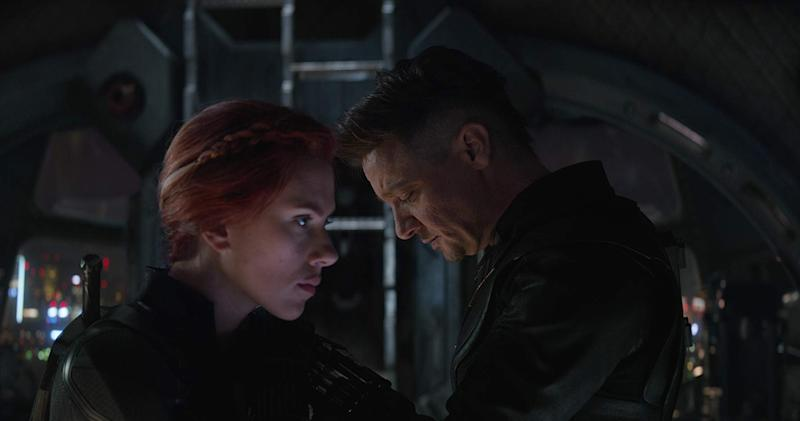 Scarlett Johansson and Jeremy Renner ahead of their emotional scene in Avengers: Endgame. (Image by Marvel)