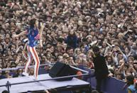 <p>Mick Jagger singing at Wembley Stadium in 1982.</p>
