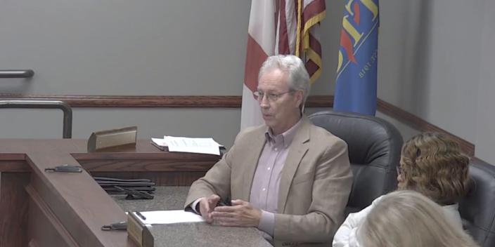 A still from a Tarrant City Council meeting showing councilman Tommy Bryant