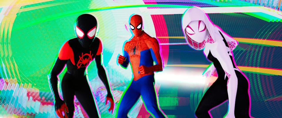 The colorfully-clad stars of 'Spider-Man: Into the Spider-Verse' do whatever Oscar nominees can (Photo: Columbia Pictures/Courtesy Everett Collection)