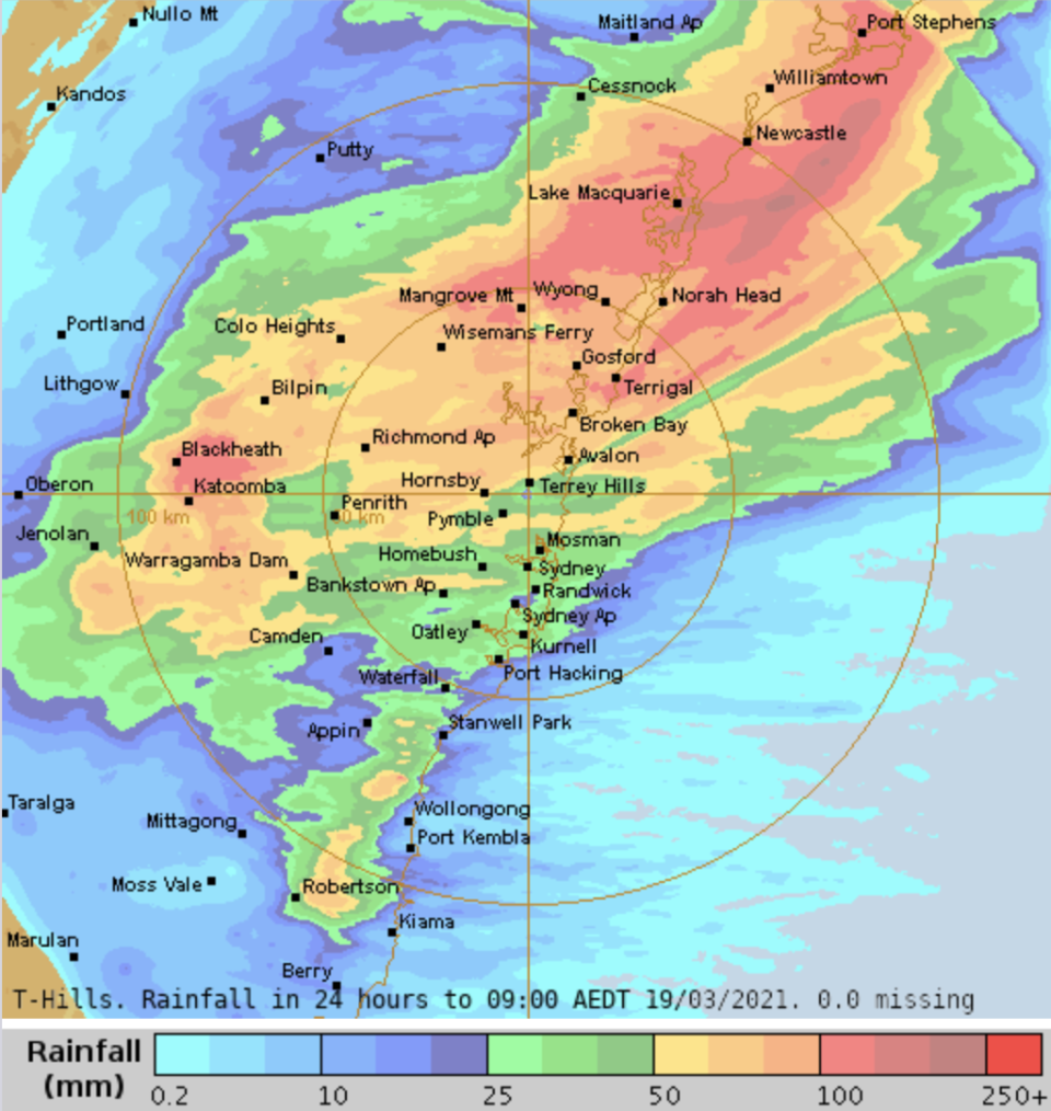 A weather map shows severe rainfall in parts of Sydney and NSW.