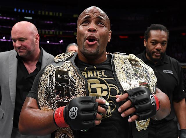 Daniel Cormier celebrates after his submission victory over Derrick Lewis in their UFC heavyweight championship bout at UFC 230 inside Madison Square Garden on Nov. 3, 2018 in New York. (Getty Images)