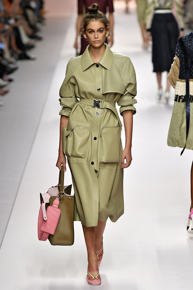Kaia Gerber walks the runway at the Fendi Ready to Wear fashion show during Milan Fashion Week Spring/Summer 2019 on September 20, 2018 in Milan, Italy. Photo courtesy of Getty Images.