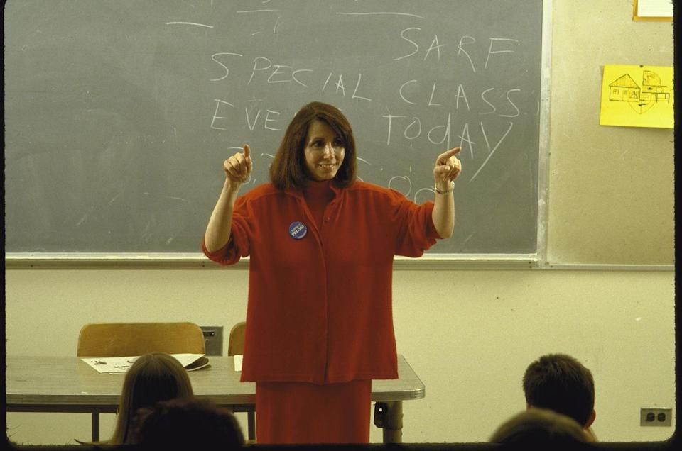 <p>In 1987, Pelosi won a special election to replace Sala Burton in the House of Representatives, representing California's 5th congressional district. She's seen here speaking to students at San Francisco State University.</p>