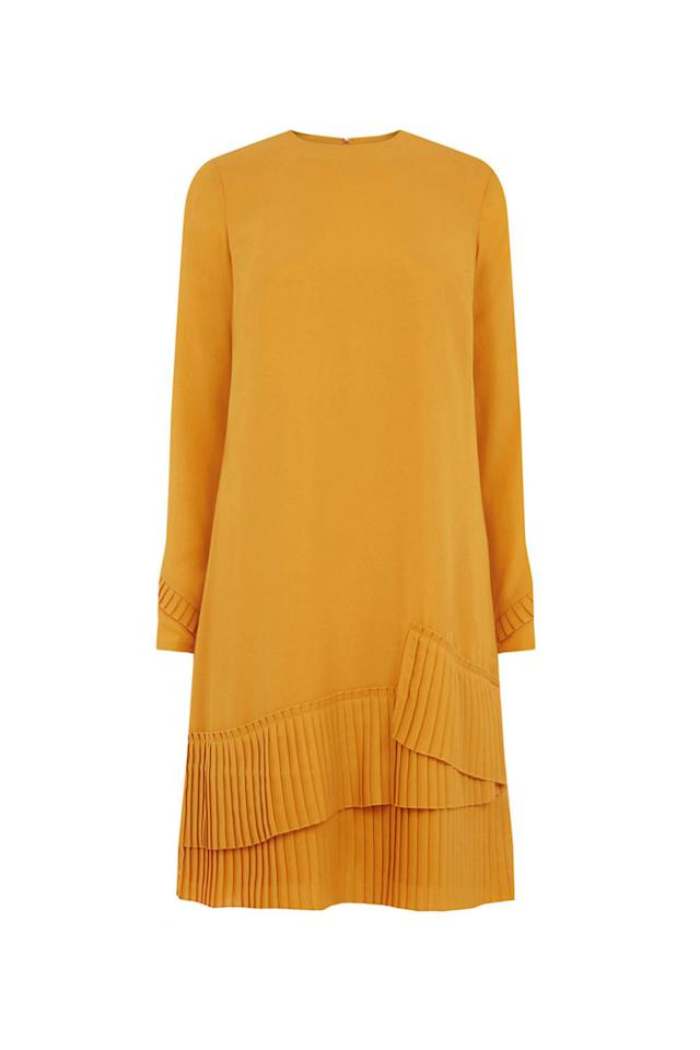 """<p>When you're sick of neutrals, here's a playful yet sophisticated winter option for fashion girls. It's worth it just for all the pleated details (yes, even on the sleeves). </p><p><strong>Pleated Hem Shift Dress, $80; <a rel=""""nofollow"""" href=""""http://www.warehouse-london.com/row/sale/dresses/pleated-hem-shift-dress/027023.html"""">warehouse.com</a>.</strong></p>"""