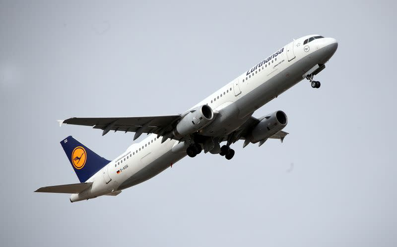 FILE PHOTO: An Airplane of German carrier Lufthansa takes off at Munich international airport