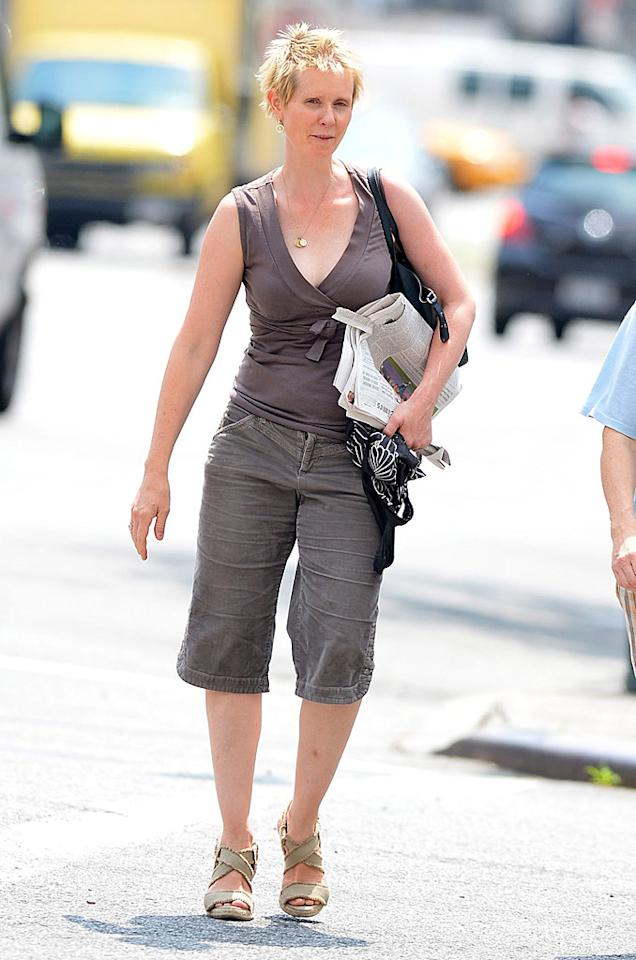 "Remember when Cynthia Nixon was a sharp-dressed redhead who stomped through the streets of NYC in luxurious designer clothing as one of ""Sex and the City's"" fab four? Needless to say, those days are over. (7/30/2012)<br><br><a target=""_blank"" href=""http://omg.yahoo.com/news/glee-scoop-sarah-jessica-parkers-vogue-connection-kate-202757833.html"">SJP returns to Vogue on ""Glee""</a>"