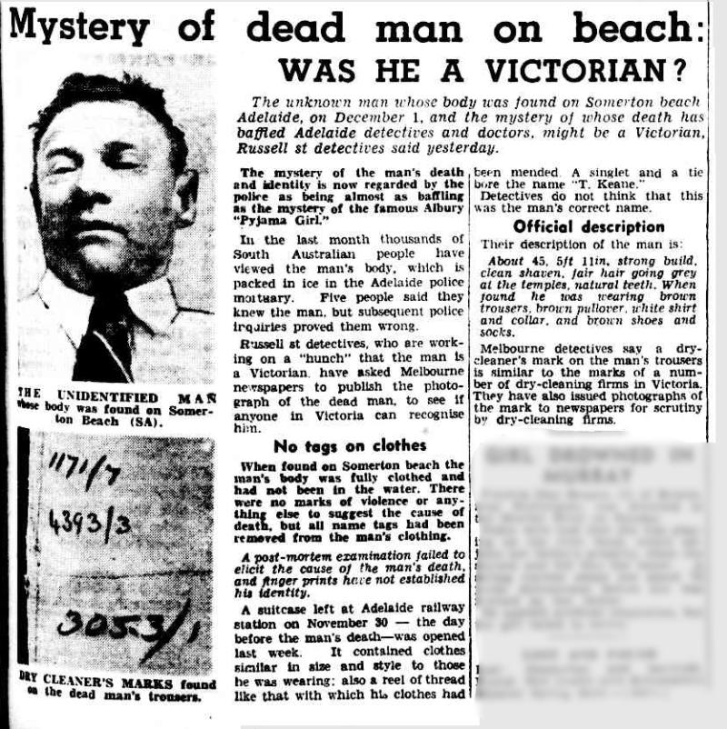 A newspaper article from the Melbourne Argus from January 1949 about the Somerton Man. Source: National Library of Australia archive