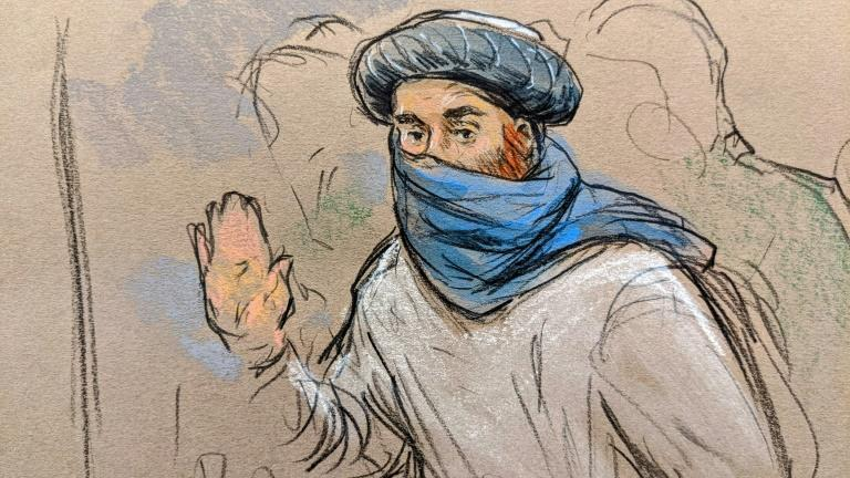 This courtroom sketch screened by US Military officials shows accused 9/11 mastermind Khalid Sheikh Mohammed in court at the US naval base in Guantanamo (AFP/William J. HENNESSY)