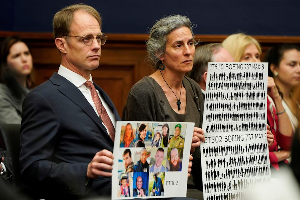 """FILE PHOTO: Michael Stumo and Nadia Milleron, whose daughter died on Ethiopia flight ET302, sit before the House Transportation and Infrastructure Committee Aviation Subcommittee hearing on """"Status of the Boeing 737 MAX"""" on Capitol Hill in Washington, U.S., May 15, 2019.      REUTERS/Joshua Roberts/File Photo"""