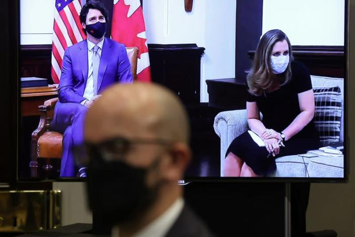 U.S. President Biden holds videoconference with Canadian Prime Minister Trudeau at the White House in Washington