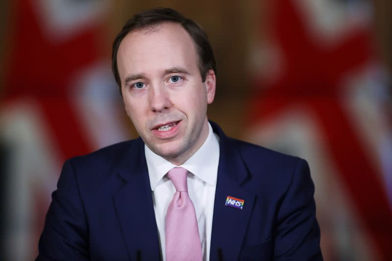 Britain's Health Secretary Hancock holds a news conference in London