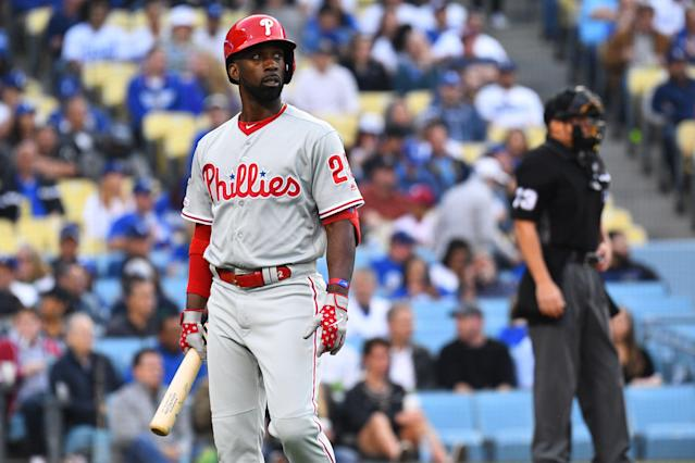 Andrew McCutchen's season is over after he tore his ACL during a rundown against the Padres. (Getty)