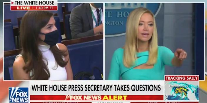 """Kayleigh McEnany takes a question from CNN's Kaitlan Collins on Wednesday. <p class=""""copyright"""">Screenshot/Fox News</p>"""