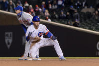 Chicago Cubs Willson Contreras (40) celebrates diving safely into second against the New York Mets during the fifth inning of a baseball game Wednesday, April 21, 2021, in Chicago. (AP Photo/Mark Black)