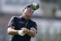 Phil Mickelson watches his tee shot on the 12th hole during a practice round of the U.S. Open Golf Championship Monday, June 14, 2021, at Torrey Pines Golf Course in San Diego. (AP Photo/Gregory Bull)