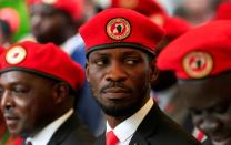 FILE PHOTO: Ugandan musician turned politician, Robert Kyagulanyi also known as Bobi Wine attends a news conference at his home in Kasangati, Kampala