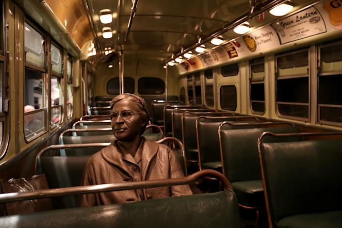 """A view of the Rosa Parks statue at the National Civil Rights Museum in Memphis. Individuals are increasingly asking, """"What history deserves the prominence of this public space?"""""""