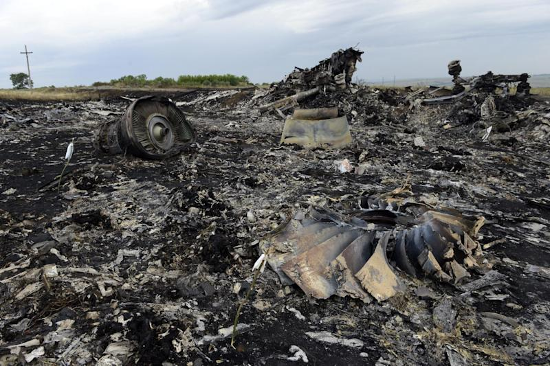 Debris from Malaysia Airlines flight MH17 lies at the crash site in rebel-held east Ukraine, on July 19, 2014 (AFP Photo/Alexander Khudoteply)