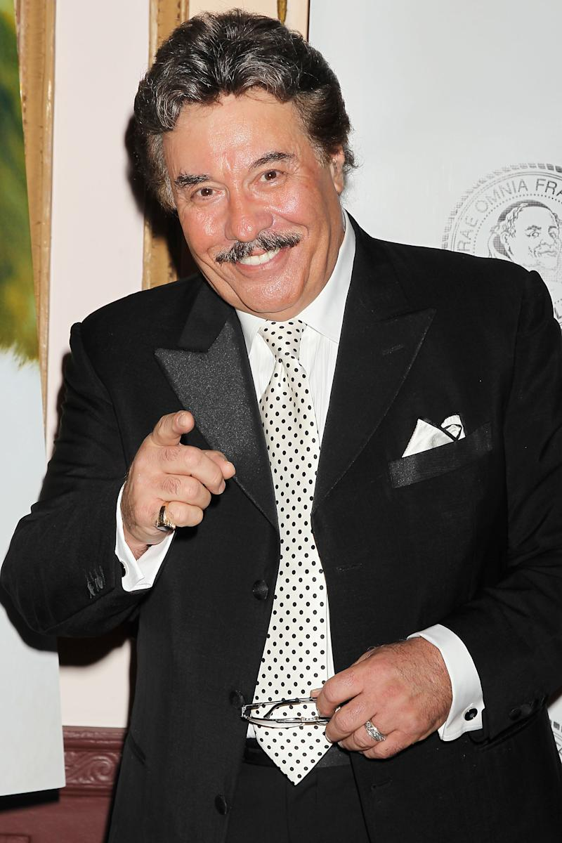 "FILE - This June 6, 2011 file photo provided by Starpix shows singer Tony Orlando at the Friars Club Foundation Applause Gala in New York. Sixty-eight-year-old Orlando said in a recent interview that the idea to cast him in the film, ""That's My Boy,"" which opens Friday, came about after running into Adam Sandler at a birthday party for a mutual friend. Two days later Sandler called him up asking if he'd want to appear in his next film. (AP Photo/Dave Allocca, StarPix)"