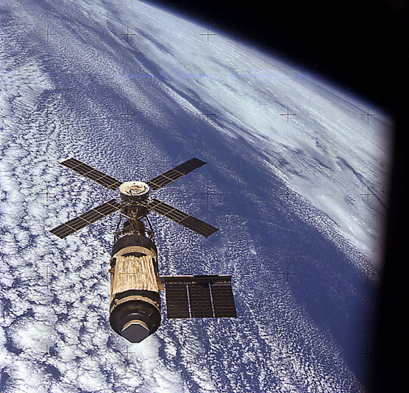 Skylab astronauts took this photograph as they approached the orbiting laboratory on the the third and final mission in November 1973.