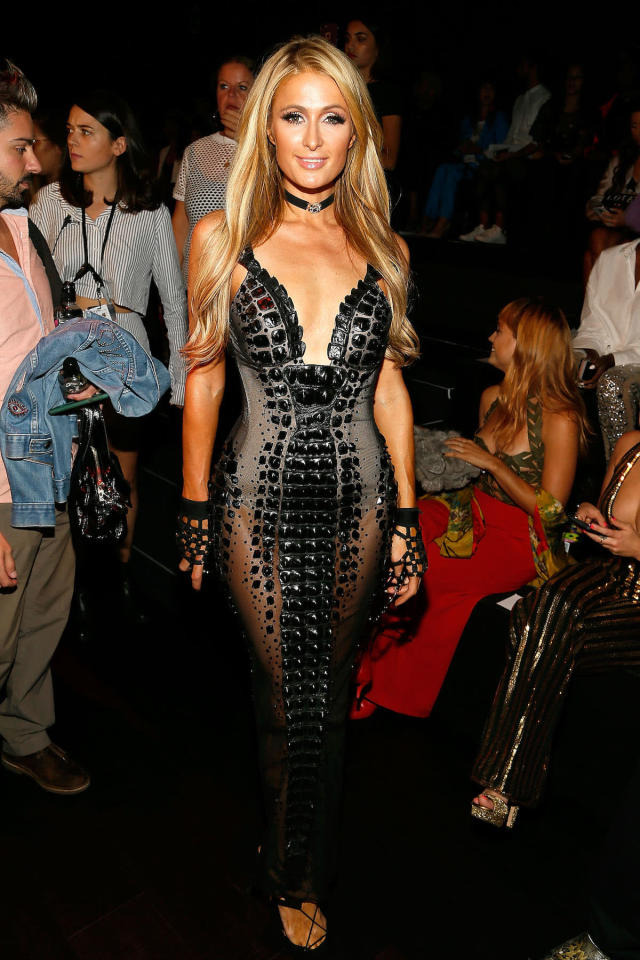 <p>NEW YORK, NY – SEPTEMBER 12: Paris Hilton attends The Blonds fashion show during New York Fashion Week: The Shows at Gallery 1, Skylight Clarkson Sq on September 12, 2017 in New York City. (Photo by Paul Morigi/WireImage) </p>