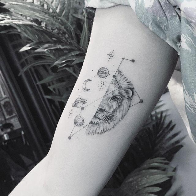 """<p>This half-lion half-constellation Leo <a href=""""https://www.cosmopolitan.com/style-beauty/beauty/g27466915/wrist-tattoos-ideas-designs/"""" rel=""""nofollow noopener"""" target=""""_blank"""" data-ylk=""""slk:tattoo"""" class=""""link rapid-noclick-resp"""">tattoo</a> is <strong>too unique to pass up. </strong>I mean, the combination of the lion, the sky, and the Leo constellation is *chef's kiss.*</p><p><a href=""""https://www.instagram.com/p/BtT89ykHcGB/"""" rel=""""nofollow noopener"""" target=""""_blank"""" data-ylk=""""slk:See the original post on Instagram"""" class=""""link rapid-noclick-resp"""">See the original post on Instagram</a></p>"""