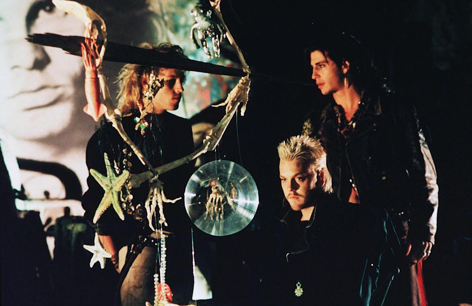 """<strong><em><h3>The Lost Boys </h3></em></strong><h3>(1987)<br></h3><br>Vampire movies were sexy long before <em>Twilight</em>. In this movie, two brothers move to a quiet town in California. One falls in with the nerds. The other, with an actual gang of vampires. The sexiest moment of this movie must, inevitably, has to be the <a href=""""https://dangerousminds.net/comments/the_infamous_sexy_sax_man_from_the_lost_boys_still_still_believes_a_chat_wi"""" rel=""""nofollow noopener"""" target=""""_blank"""" data-ylk=""""slk:oiled-up sax man"""" class=""""link rapid-noclick-resp"""">oiled-up sax man</a> who's been a cultural trope since.<span class=""""copyright"""">Jane O'Neal/Warner Bros/Kobal/REX/Shutterstock</span>"""