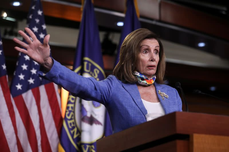 U.S. House Speaker Nancy Pelosi briefs reporters during weekly news conference on Capitol Hill in Washington