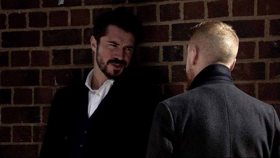 <p>He reveals that he knows Gary killed Rick.</p>