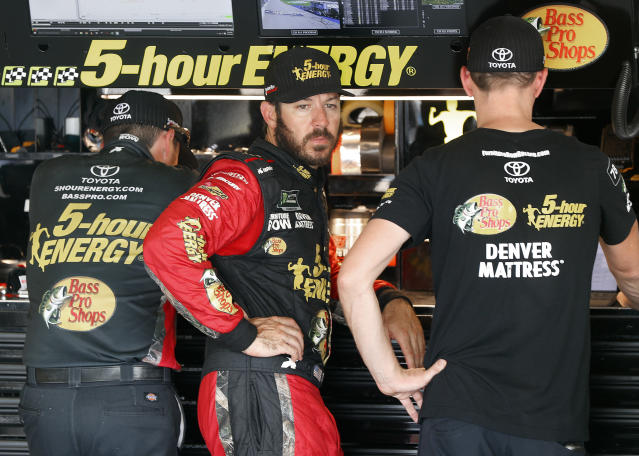 "<a class=""link rapid-noclick-resp"" href=""/nascar/sprint/drivers/380/"" data-ylk=""slk:Martin Truex Jr"">Martin Truex Jr</a>. could part ways with Furniture Row Racing if it doesn't find sponsorship for 2019. (AP Photo/Paul Sancya)"