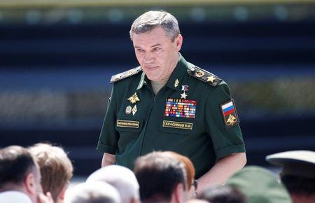 Chief of the General Staff of Russian Armed Forces, Valery Gerasimov, arrives for the opening ceremony of the International Army Games 2017 in Alabino