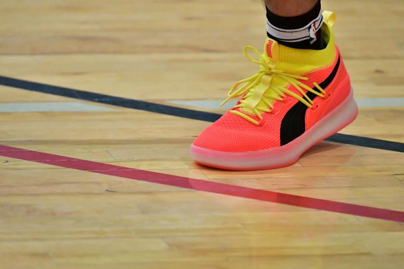 BOSTON, MA - OCTOBER 14: Puma Clyde Court Disrupt shoes are seen at the 'PUMA Rep Your School Peace Basketball Jamboree' hosted by Mike Bivins, Boston Public Schools, Mayor Marty Walsh and PUMA on October 14, 2018 in Boston, Massachusetts. (Photo by Paul Marotta/Getty Images for PUMA)