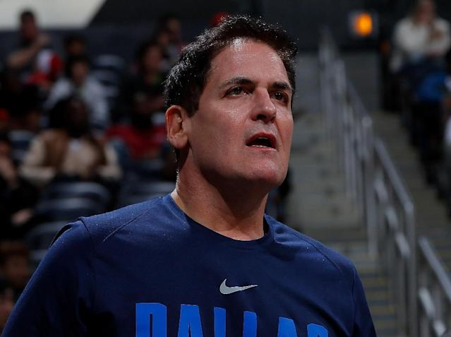 Mark Cuban, pictured in 2017, that it would be in the Dallas Mavericks' best interest to lose for the rest of the season in order to improve their position for the NBA draft (AFP Photo/Kevin C. Cox)