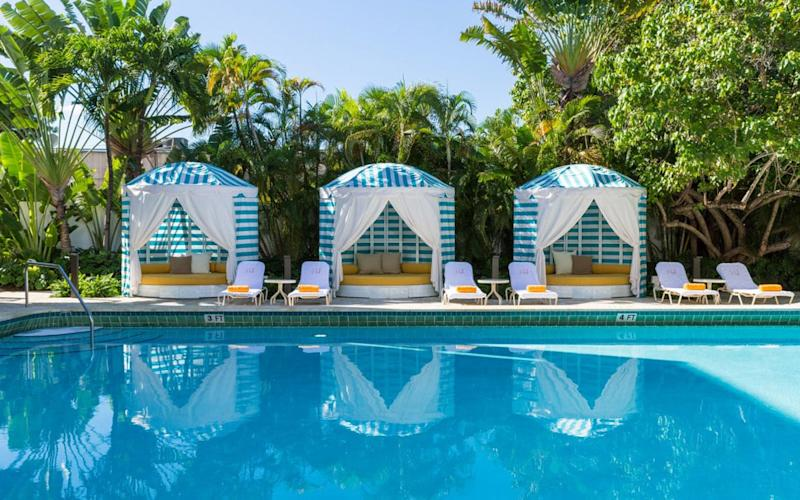 The Hall brings a dose of Tropical Modern cool to the heart of South Beach in a restored Art Deco building.
