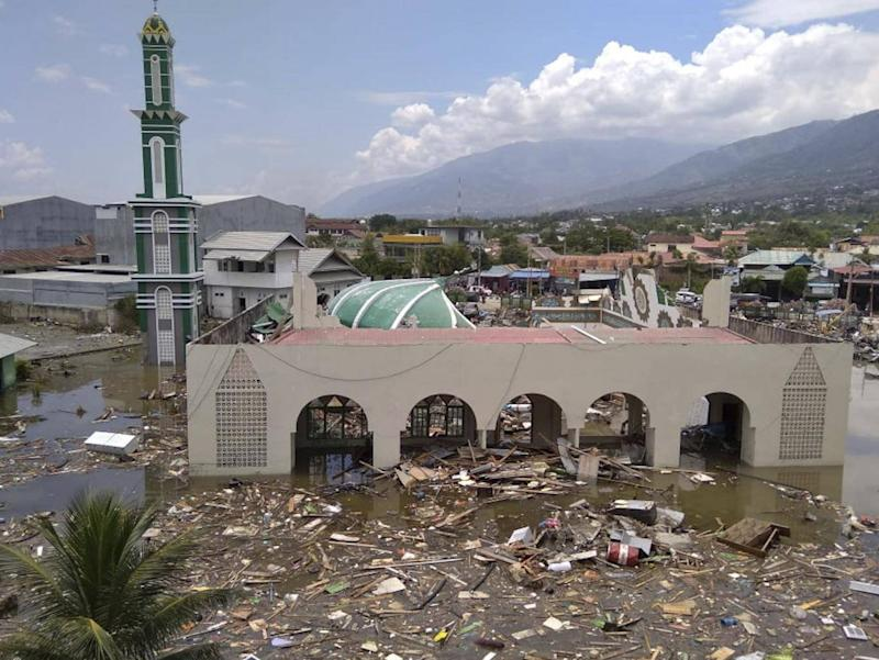 A mosque in Palu was badly damaged (AP)