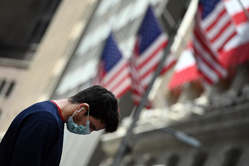 The New York Stock Market reacted with large gains for the second day in a row (as of this writing) on growing optimism regarding the track of the Coronavirus, New York, NY, April 7, 2020 (Anthony Behar/Sipa USA)