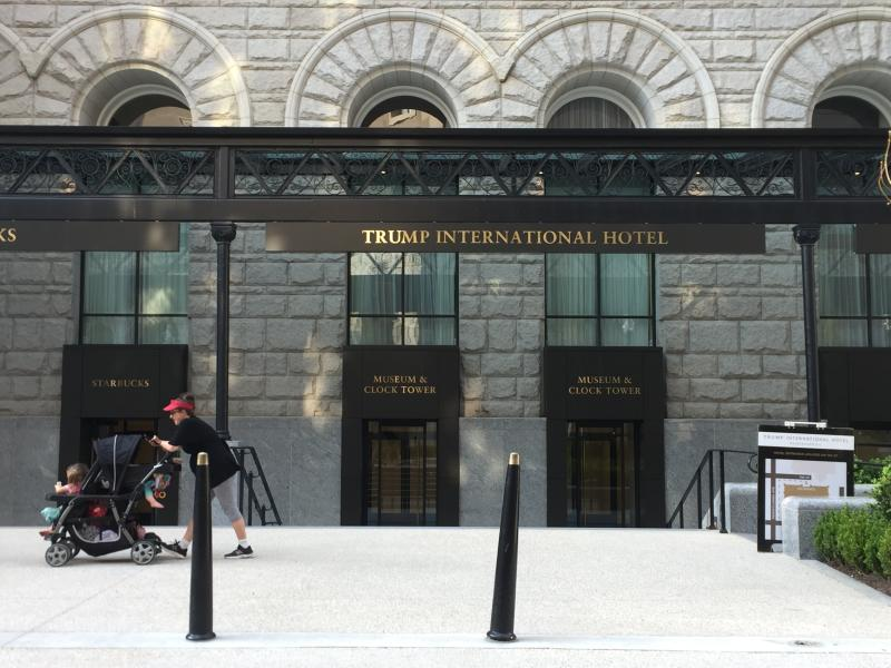 This April 13, 2017 image shows the entrance to the clock tower at the Old Post Office, a historic building in Washington D.C., where the Trump International Hotel is located. The clock tower is operated by the National Park Service and was recently reopened to the public for tours. (AP Photos/Beth J. Harpaz)