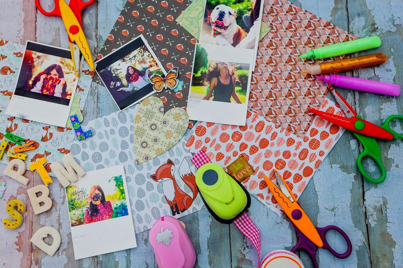 <p>Break out those old photo albums and transform them into something beautiful. You and Mom can each work on your own scrapbook pages and bind them together when you're done. </p>