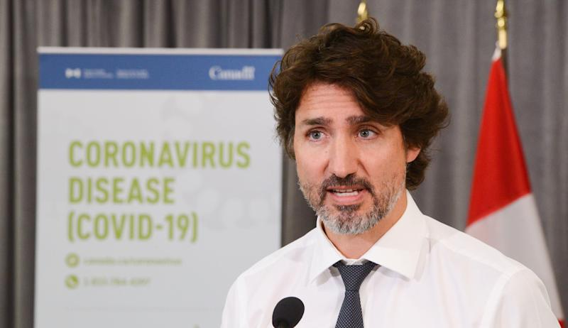 Prime Minister Justin Trudeau holds a press conference as he visits the Public Health Agency of Canada during the COVID-19 pandemic in Ottawa on July 31, 2020. (Photo: CP/Sean Kilpatrick)