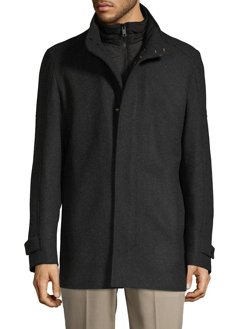 """Strellson Stand-Collar Wool-Blend Jacket, $488.60. Available at the <a href=""""https://www.thebay.com/strellson-stand-collar-wool-blend-jacket/product/0600091129095?R=7613412918356&amp;P_name=Strellson&amp;Ntt=strellson+jacket&amp;N=0&amp;PRODUCT%3C%3Eprd_id=845524442357696&amp;FOLDER%3C%3Efolder_id=2534374302023689"""" target=""""_blank"""" rel=""""noopener noreferrer"""">Bay</a>."""
